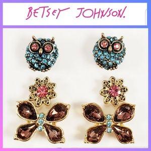 Betsey Johnson 3 Pairs Earrings